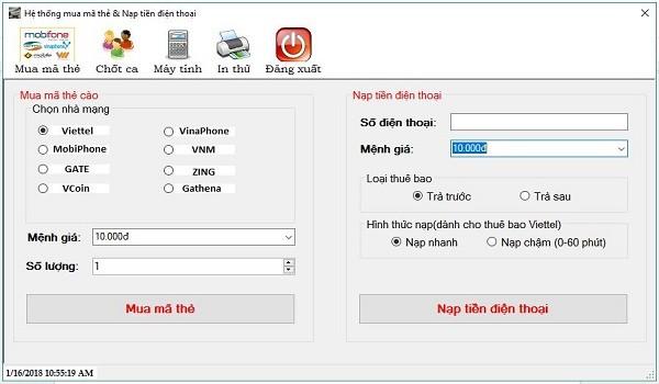 Tải phần mềm in mã thẻ cào cho đại lý