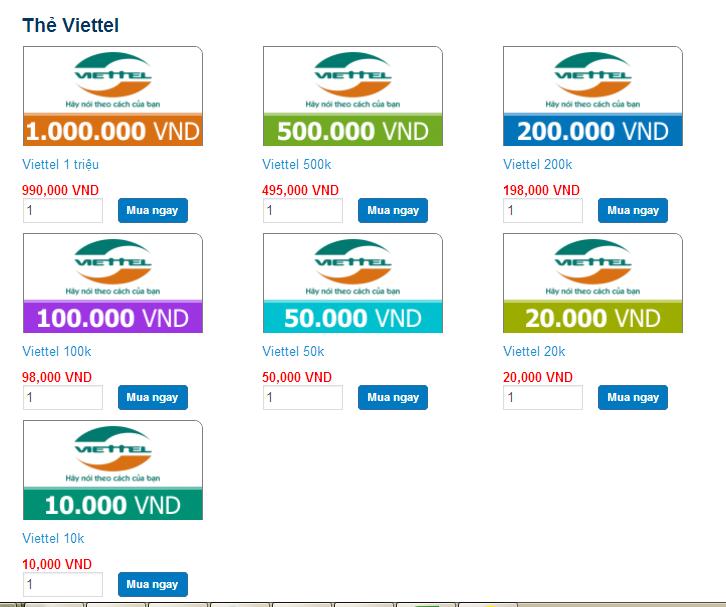 Các mệnh giá thẻ cào Viettel trực tuyến.
