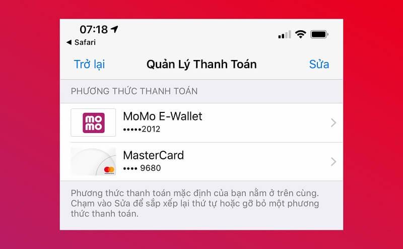 Nạp tiền và thanh toán trên AppStore bằng thẻ Visa/Mastercard