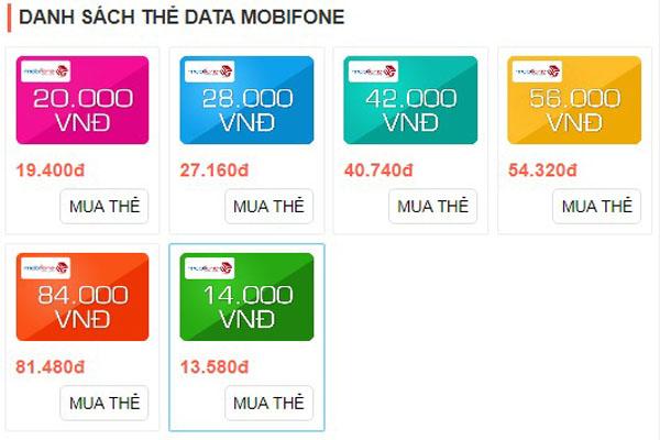 Danh sách thẻ data 3G Mobifone